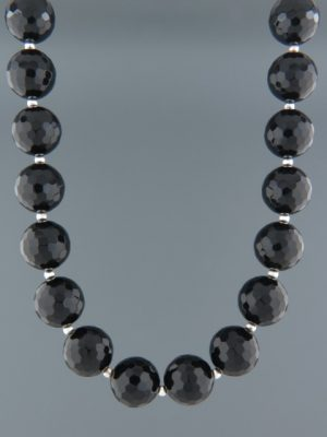 Onyx Necklace - 14mm round faceted stones with Silver beads - OX106
