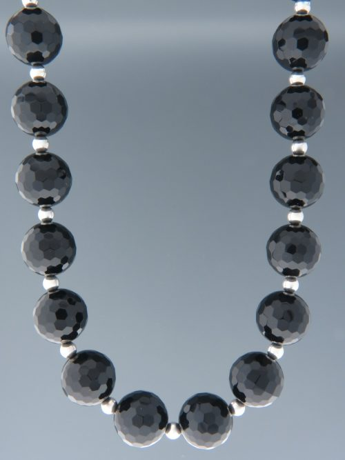 Onyx Necklace - 16mm round faceted stones with Silver beads - OX107