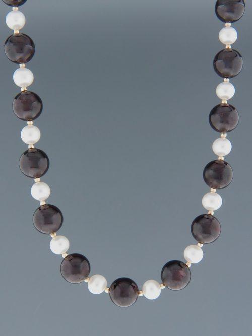 Garnet & Pearl Necklace - 10mm round stones - 50cm - G044