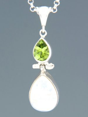 Moonstone Pendant with Peridot - Sterling Silver - P356