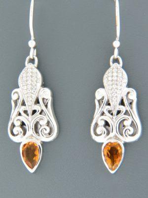 Citrine Earrings - Sterling Silver - C548