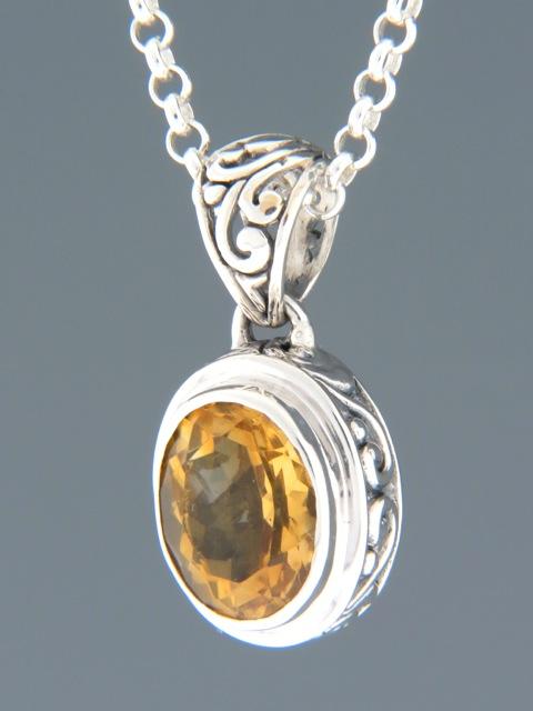 Citrine Pendant - Sterling Silver - C395