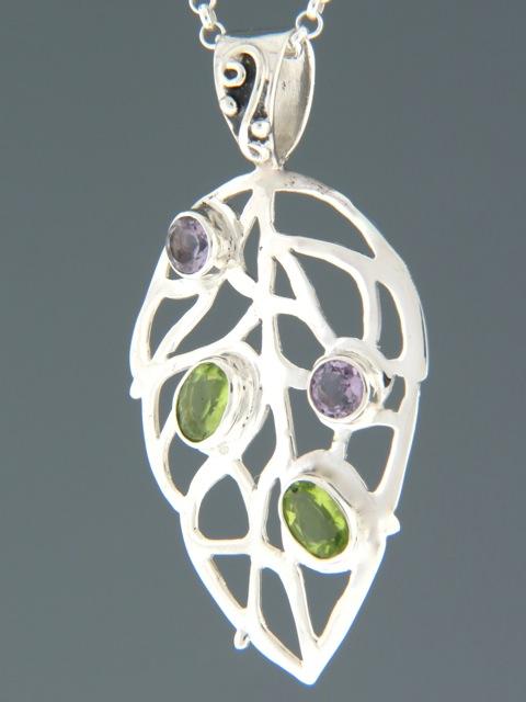 Peridot & Amethyst Pendant - Sterling Silver - P342