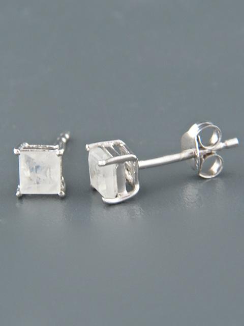 Moonstone Earrings - Sterling Silver stud - 4mm stones - MS514