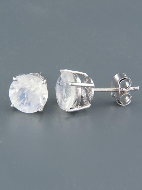 Moonstone Earrings - Sterling Silver stud - 8mm stones - MS513
