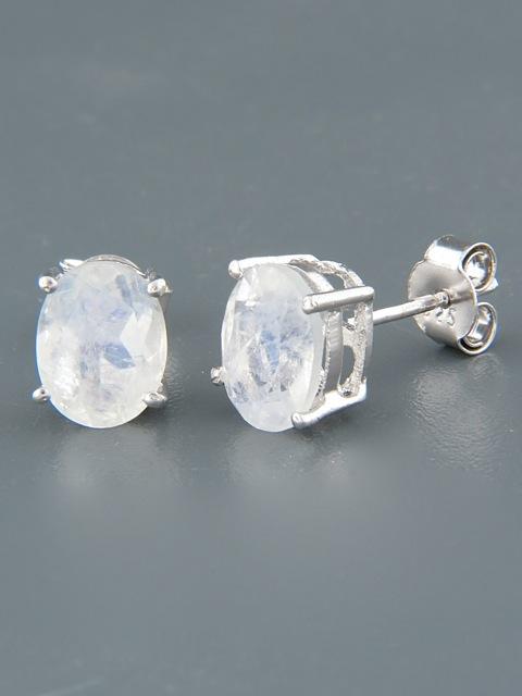Moonstone Earrings - Sterling Silver stud - 7x9mm stones - MS515