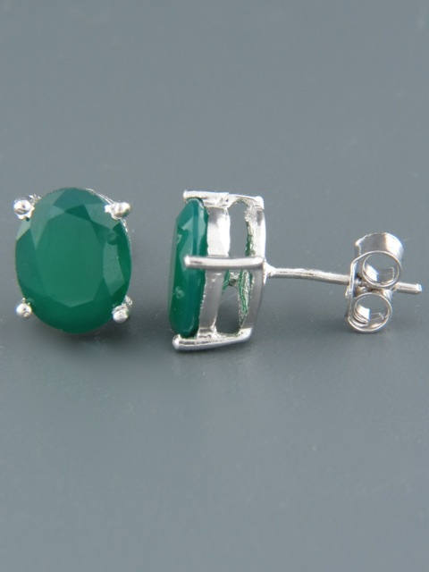 Green Agate Earrings - Sterling Silver stud - 8x10mm stones - AG523