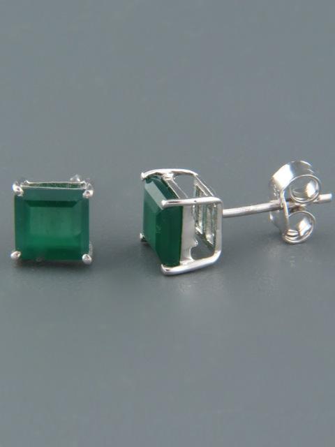 Green Agate Earrings - Sterling Silver stud - 6mm stones - AG521