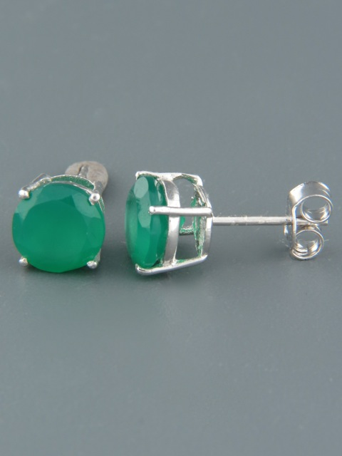 Green Agate Earrings - Sterling Silver stud - 8mm stones - AG516