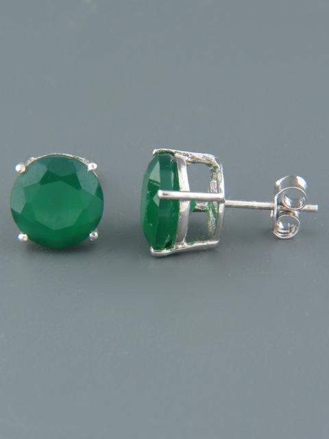 Green Agate Earrings - Sterling Silver stud - 10mm stones - AG517