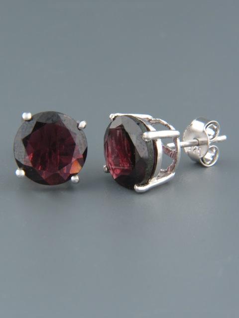 Garnet Earrings - Sterling Silver stud - 10mm stones - G500