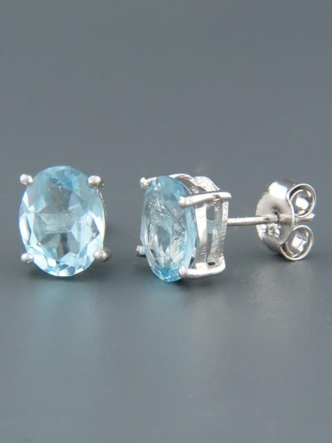Blue Topaz Earrings - Sterling Silver stud - 7x9mm stones - BT508