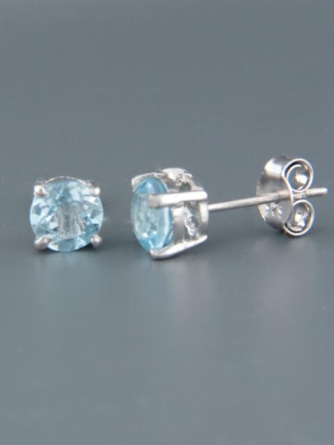 Blue Topaz Earrings - Sterling Silver stud - 6mm stones - BT507