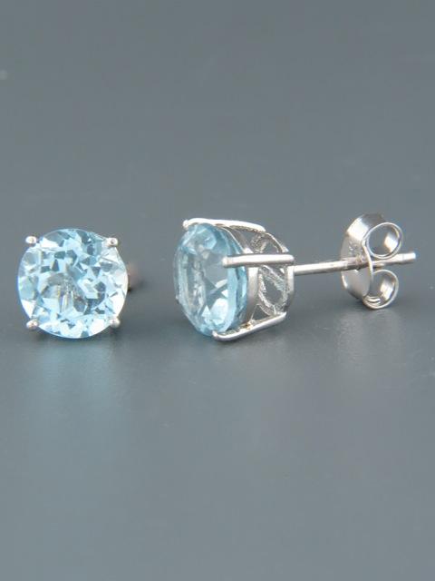 Blue Topaz Earrings - Sterling Silver stud - 8mm stones - BT509