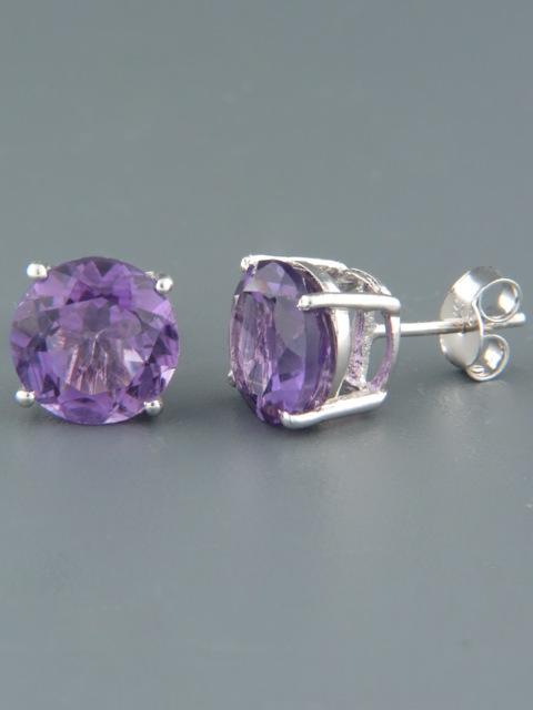 Amethyst Earrings - Sterling Silver stud - 10mm stones - A675