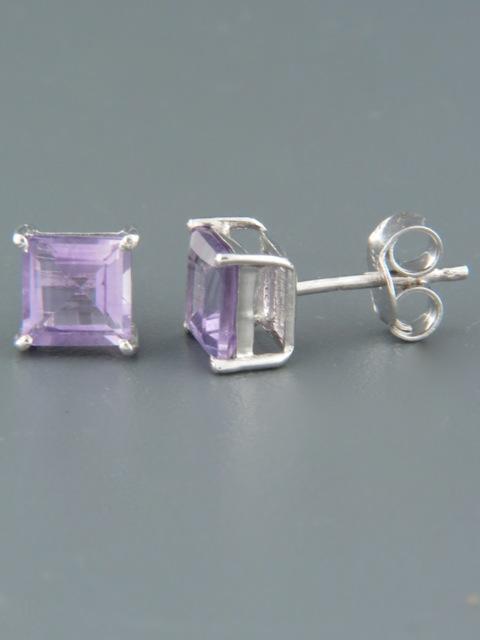 Amethyst Earrings - Sterling Silver stud - 6mm stones - A674