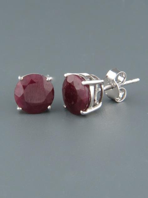 Ruby Earrings - Sterling Silver stud - 8mm stones - R527