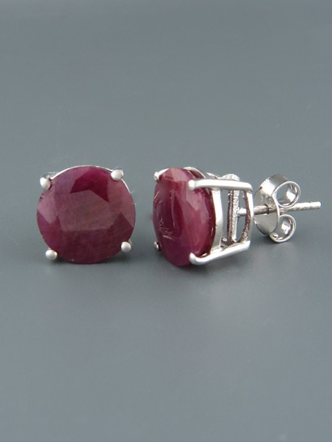 Ruby Earrings - Sterling Silver stud - 10mm stones - R528