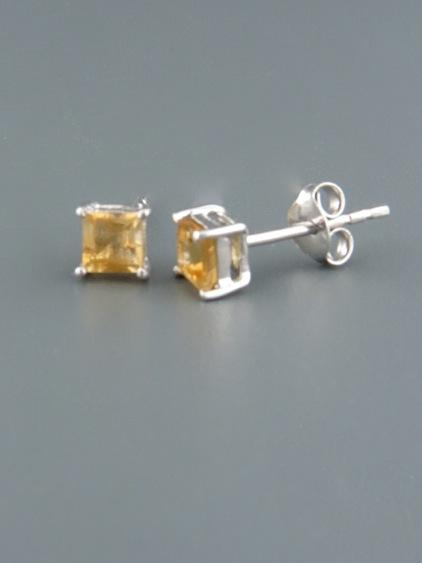 Citrine Earrings - Sterling Silver stud - 4mm stones - C505