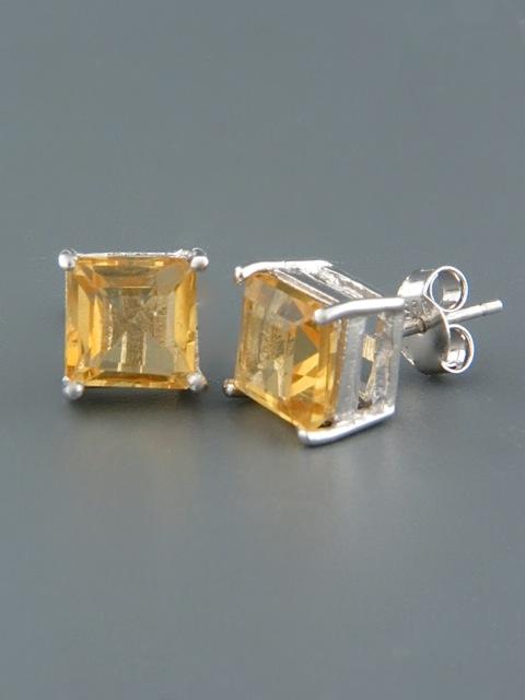 Citrine Earrings - Sterling Silver stud - 8mm stones - C508