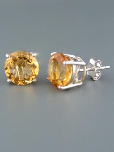 Citrine Earrings - Sterling Silver stud - 10mm stones - C509