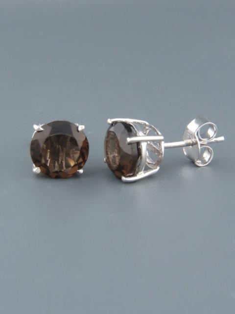 Smokey Quartz Earrings - Sterling Silver stud - 8mm stones - SQ510