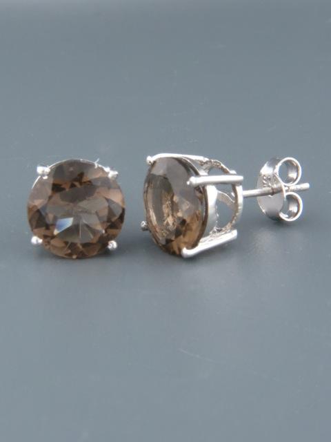 Smokey Quartz Earrings - Sterling Silver stud - 10mm stones - SQ512