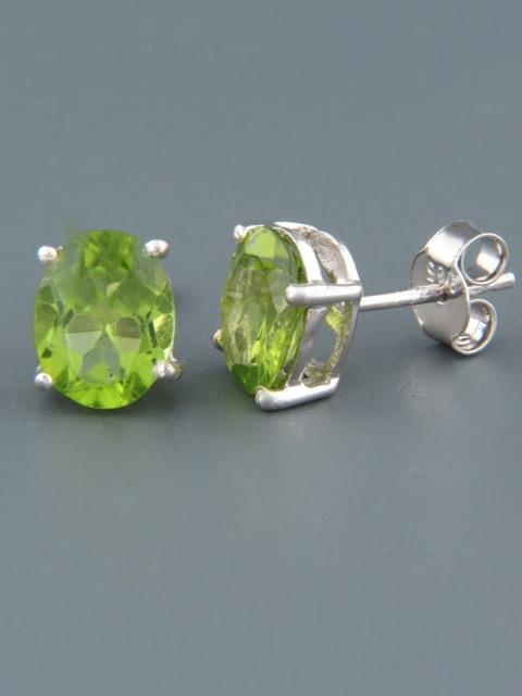 Peridot Earrings - Sterling Silver stud - 7x9mm stones - P509