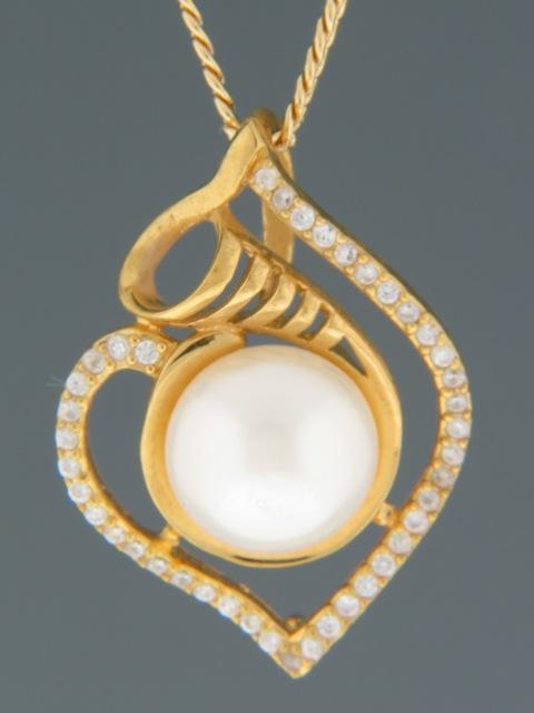 Pacific Pearl Pendant with Zircon - Gold Vermeil - Y309GV