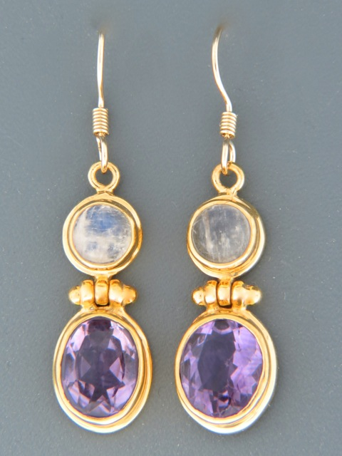 Amethyst & Moonstone Earrings - Gold Vermeil - A697GV