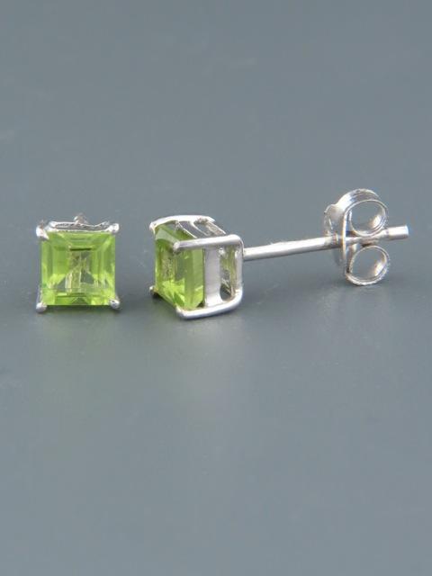 Peridot Earrings - Sterling Silver stud - 4mm stones - P500