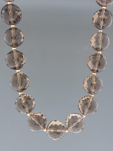 Smokey Quartz Necklace - 16mm round faceted stones - 51cm - SQ001
