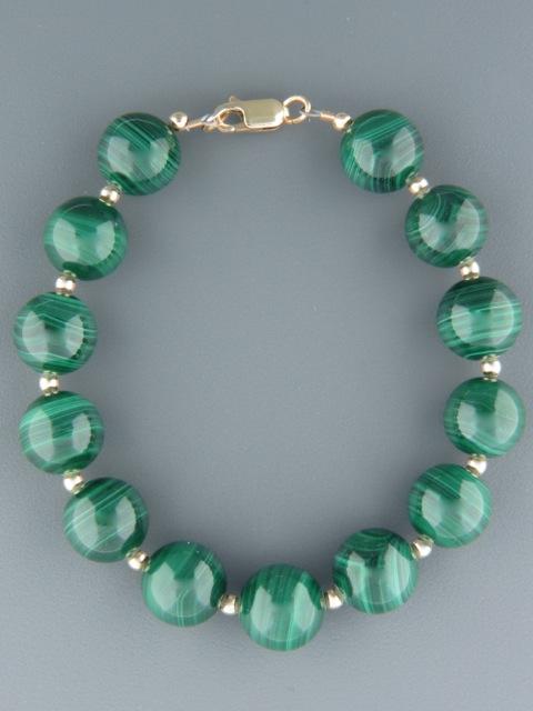 Malachite Bracelet with Gold beads - 12mm round stones - M901