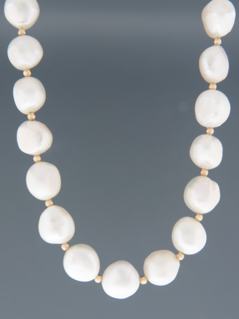12mm Baroque Pearl Necklace with Gold beads - YWBQ123N