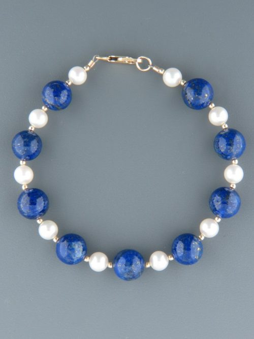 Lapis Lazuli & Pearl Bracelet - with Gold beads - LL901