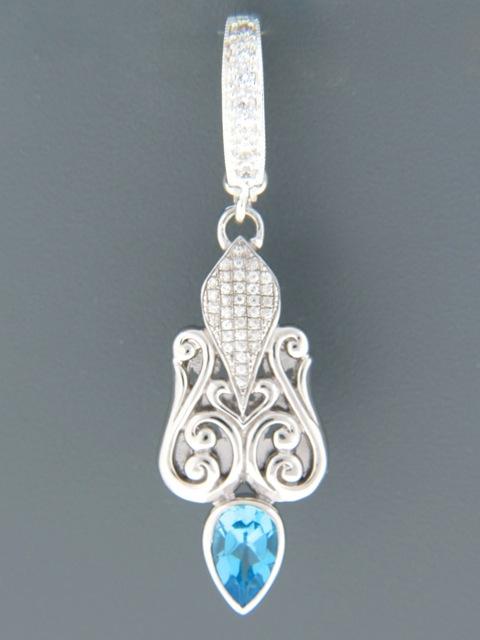 Blue Topaz Enhancer Pendant - Sterling Silver - BT399E
