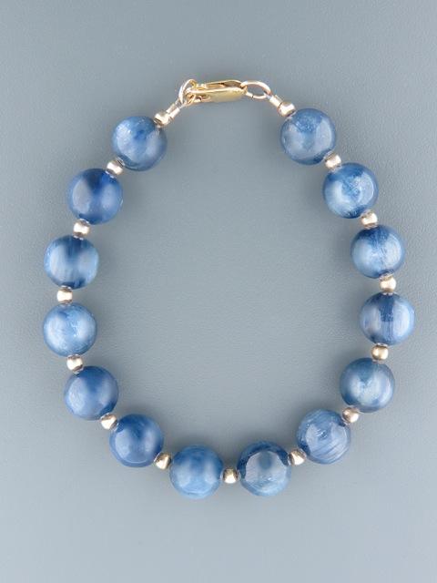 Kyanite Bracelet - 10mm round stones with Gold beads - K901