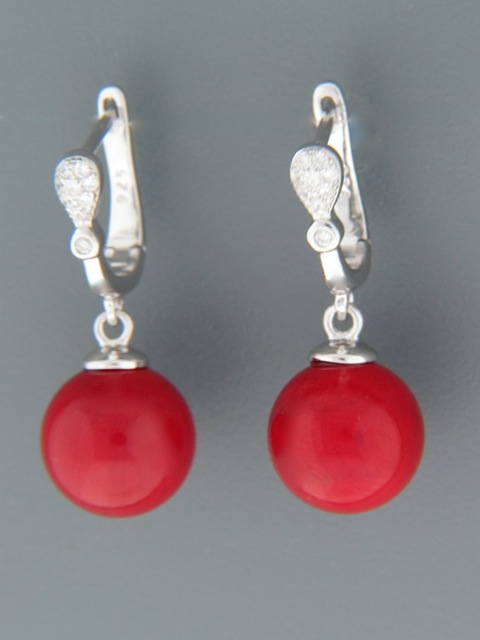 Red Coral Earrings - Sterling Silver - CO540