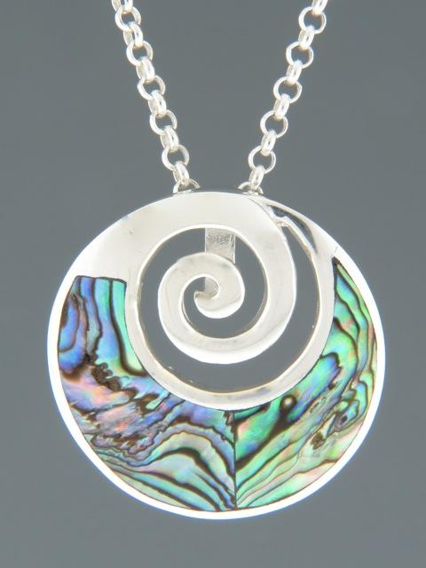 Paua Shell Pendant - Sterling Silver - PA311
