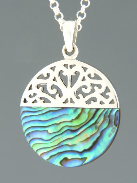 Paua Shell Pendant - Sterling Silver - PA329