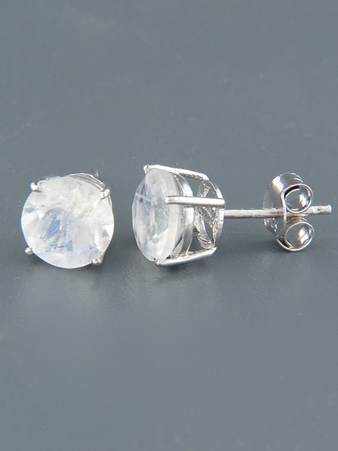 Moonstone Earrings - Sterling Silver stud - 10mm stones - MS510