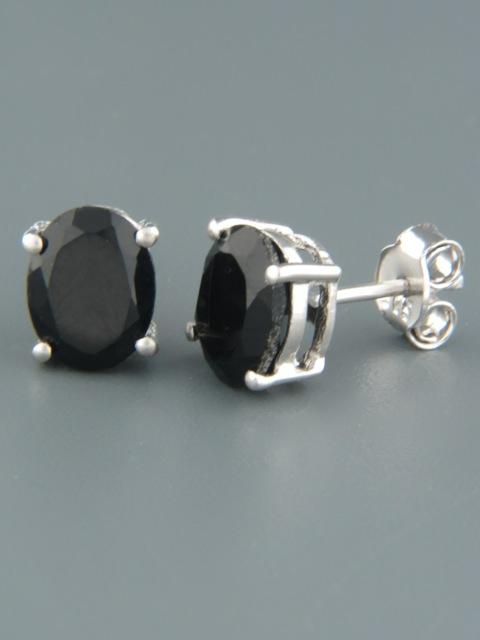 Onyx Earrings - Sterling Silver stud - 7x9mm stones - OX514