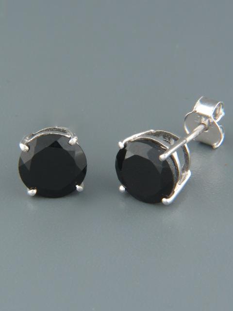 Onyx Earrings - Sterling Silver stud - 8mm stones - OX518