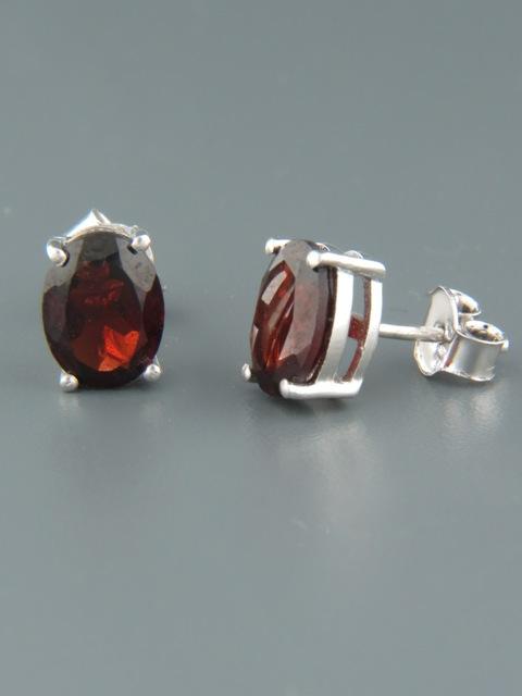Garnet Earrings - Sterling Silver stud - 7x9mm stones - G631