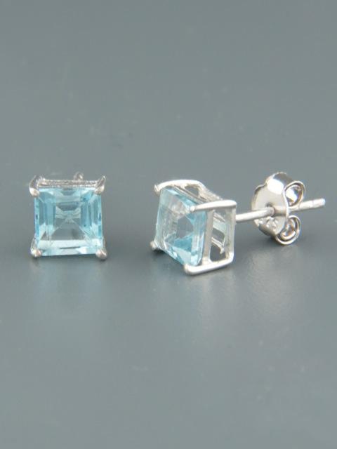 Blue Topaz Earrings - Sterling Silver stud - 6mm stones - BT511