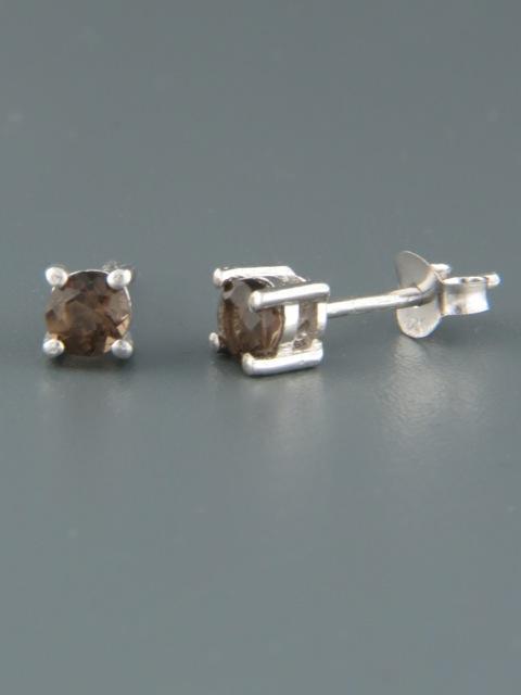 Smokey Quartz Earrings - Sterling Silver stud - 4mm stones - SQ500