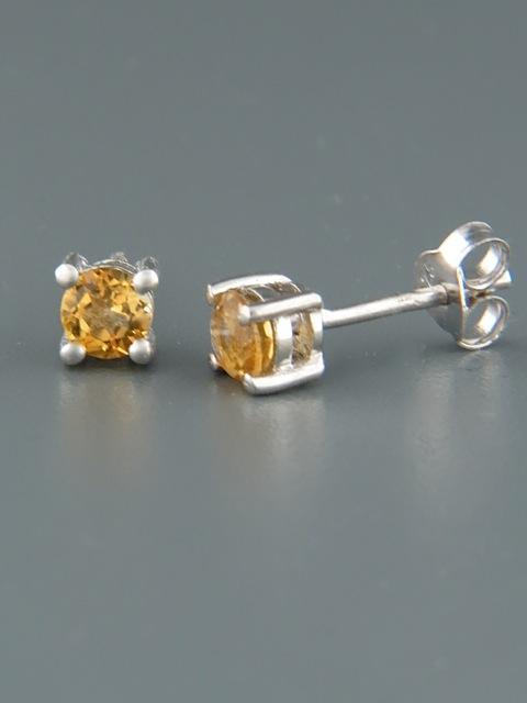 Citrine Earrings - Sterling Silver stud - 4mm stones - C504