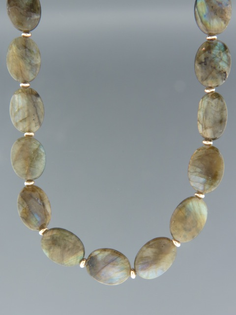 Labradorite Necklace - with Gold beads - LAB001