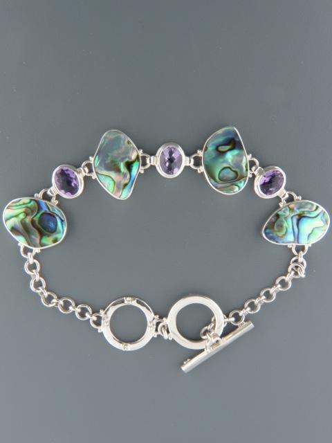 Paua Shell & Amethyst Bracelet - Sterling Silver - PA913