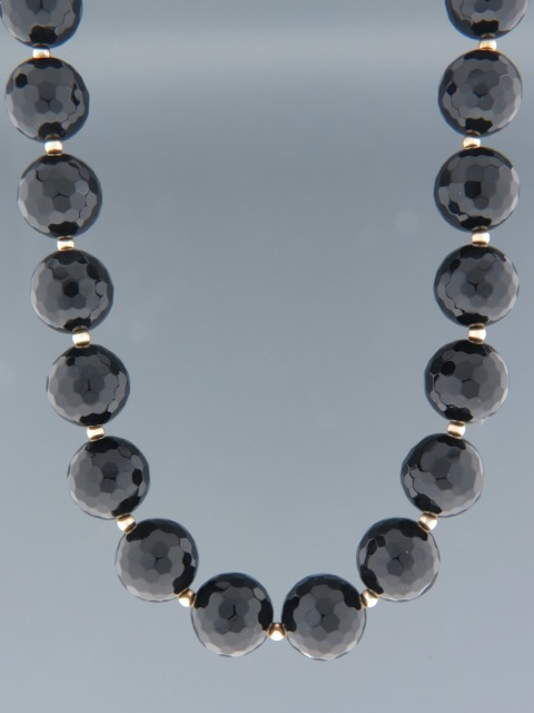 Onyx Necklace -14mm round faceted stones with Gold beads - OX003